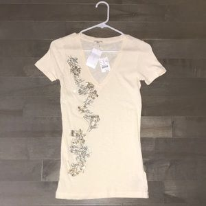 J.Crew v neck shirt with embellishment